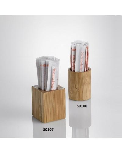 Set 6 Portastuzzicadenti Cubo Bamboo 3,5x3,5x4,5 cm Leone