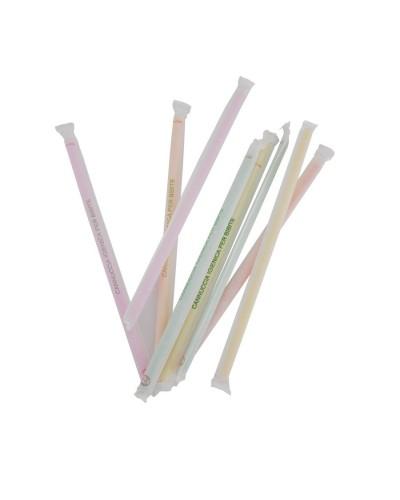 Confezione da 250 Cannucce Colorate Pieghevoli Imbustate da 24 cm