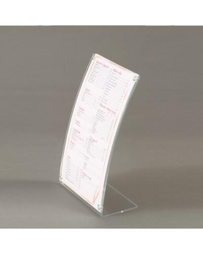 Espositore a L curvo in plexiglass trasparente formato A5 Leone