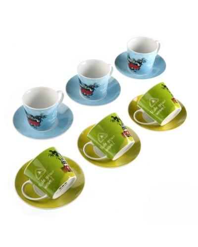 Set 6 Tazzine Tè Ride Con Piattino Versa