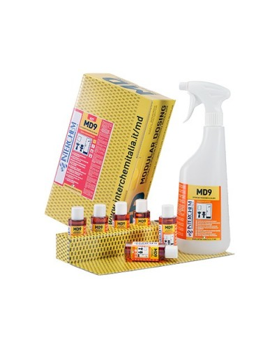 DETERSIVO SANIFICANTE BAGNO ALCALINO MD9 40 ml KIT 6 pz + 1 FLACONE INTERCHEM