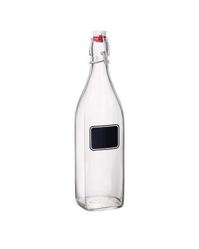 Bottiglia Vetro Swing Quadrata con Lavagna 1 lt Bormioli