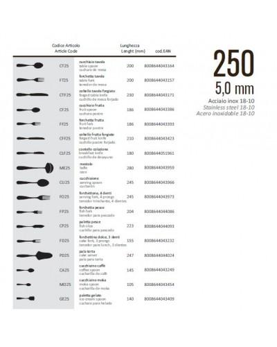 COLTELLO TAVOLA FORGIATO LINEA 250 23 cm ACCIAIO INOX 18/10