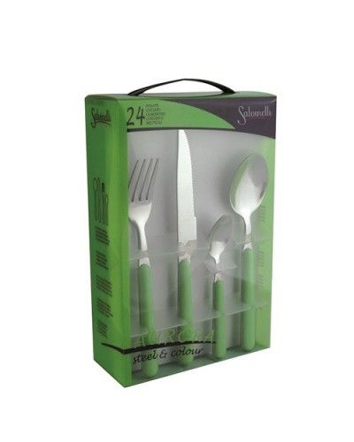 SET POSATE COLORATE VERDE CHIARO AURORA 24 pz SALVINELLI