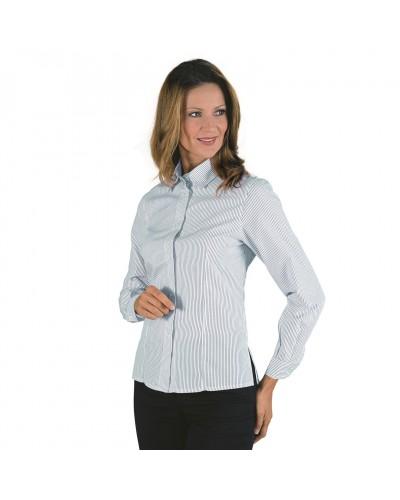 Camicia Donna Kyoto Righe Grigia a manica lunga Isacco