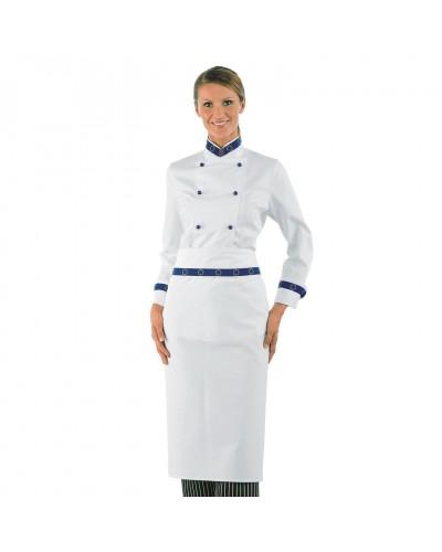 Giacca Cuoca Donna Lady Euro Bianca a manica lunga Isacco