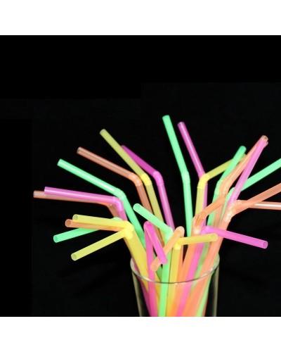 Confezione da 250 Cannucce Colorate Colori Fluo Pieghevoli da 24,5 cm