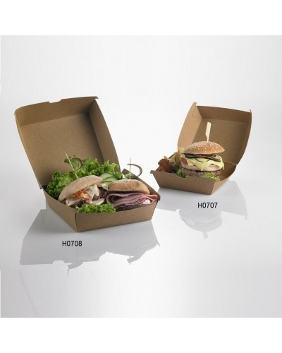 SCATOLA BOX HAMBURGER CARTA KRAFT 16x16x9 cm 50 pz TAKE AWAY STREET FOOD