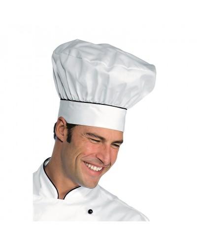 Cappello Cuoco Bianco Riga Nera