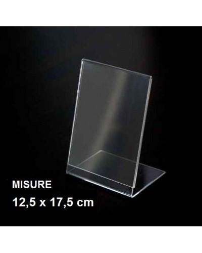 Espositore a L in plexiglass trasparente 12,5x17,5 cm Leone