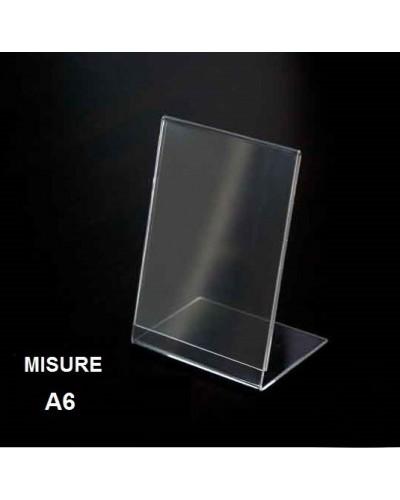 Espositore a L in plexiglass trasparente formato A6 cm Leone