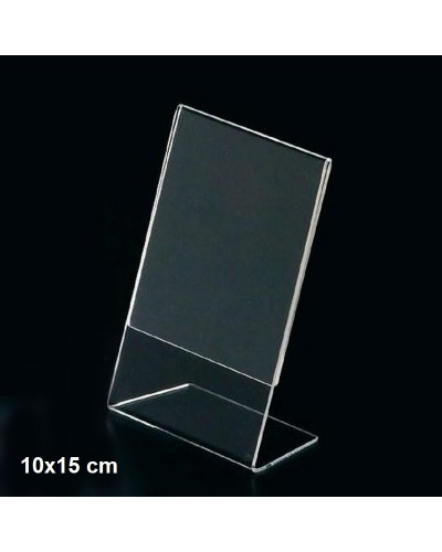 Espositore a L in plexiglass trasparente 10x15 cm Leone