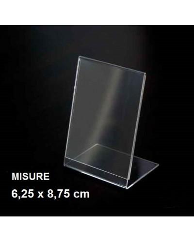 Espositore a L in plexiglass trasparente 6,25x8,75 cm Leone