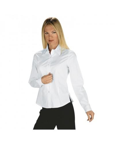 Camicetta Tenerife Stretch Bianca cotone manica lunga Isacco