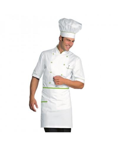 Giacca cuoco Alicante Bianca e verde mela cotone manica corta Isacco