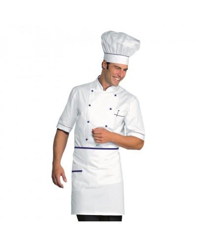 Giacca cuoco Alicante Bianca e blu cina cotone manica corta Isacco