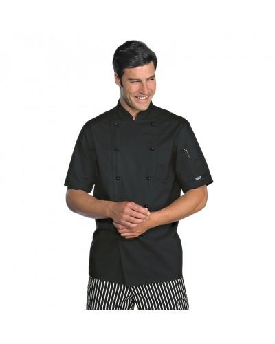 Giacca cuoco Extralight Nera misto cotone manica corta Isacco