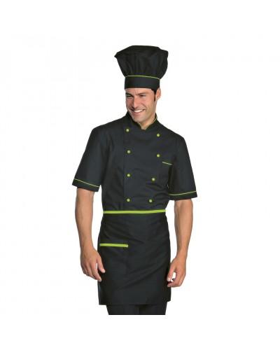 Giacca cuoco Alicante Extralight Nera e verde misto cotone manica corta Isacco
