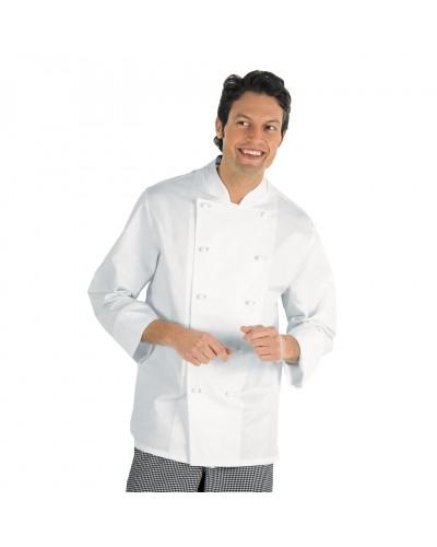 Giacca Cuoco Livorno bianca cotone manica lunga Isacco