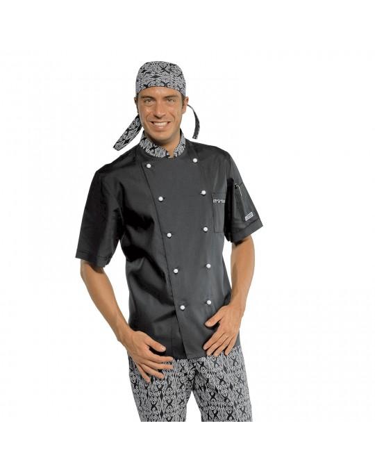Giacca cuoco Extralight Nera e Maori 91 a manica corta Isacco 31f97c14a720