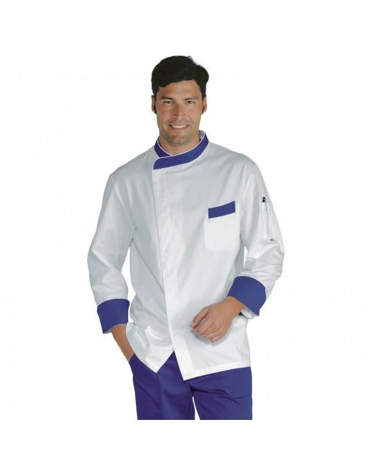 size 40 bec96 0ea9e Giacca cuoco Durango bianca e blu in cotone a manica lunga Isacco
