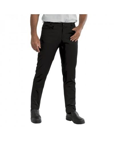 Pantalone Cuoco Yale Slim Fit Nero in misto cotone Isacco