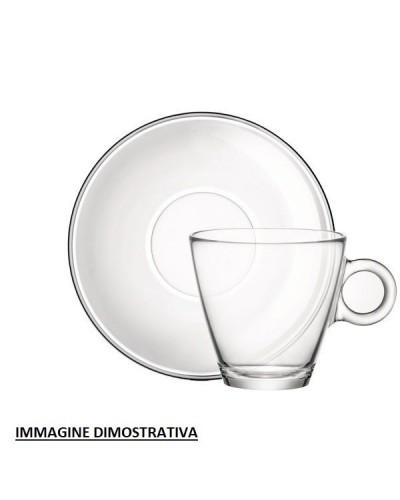 Set 6 Piattini per Tazza Cappuccino Easy Bar in Vetro Bormioli Rocco