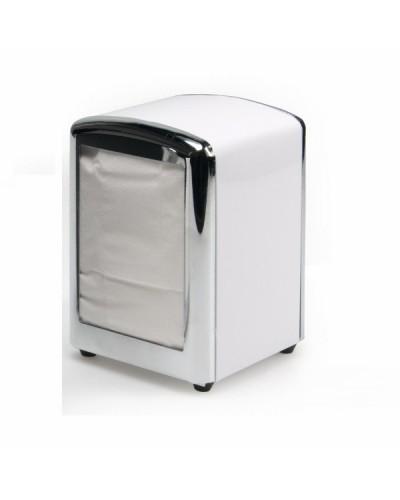 Porta Tovaglioli Bar 17x17 Bianco a Molla in Acciaio Inox Leone