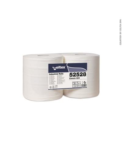 Coppia Rotoloni Industriali Classic 800 Strappi 2 Veli Pura Ovatta Celtex