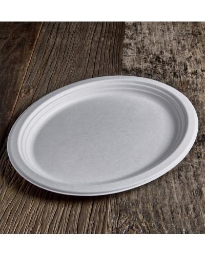 Piatto Ovale Polpa di Cellulosa da 32x25 cm 50 pz