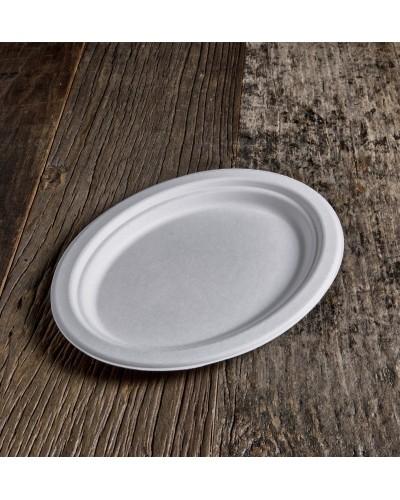 Piatto Ovale Polpa di Cellulosa da 26x19 cm 50 pz