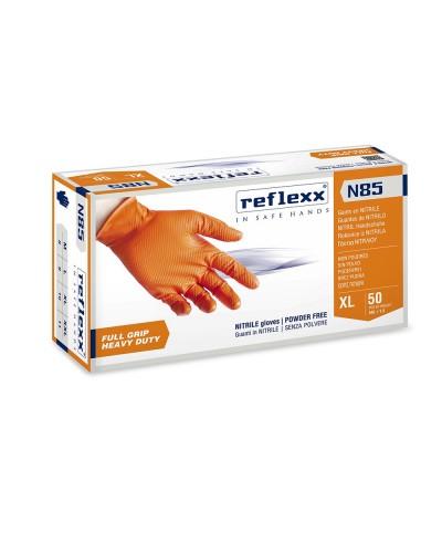 Guanti Nitrile Reflex N85 arancioni Fullgrip 50 pz senza polvere