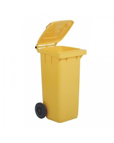 Bidone Spazzatura Pedale e Ruote 120 lt giallo Mobil Plastic