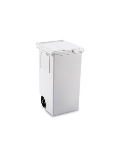 Bidone Spazzatura Pedale e Ruote 80 lt bianco Mobil Plastic