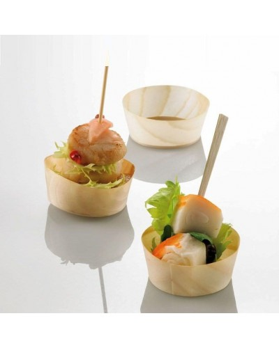 COPPETTE BASSE IN LEGNO DI BALSA 5x2 cm 100 pz PARTY FINGER FOOD BAMBOO