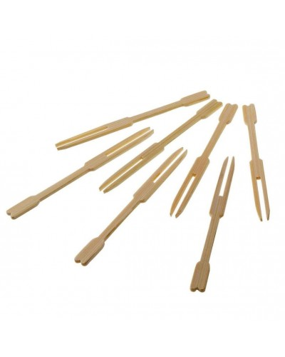 FORCHETTINE BAMBOO LEGNO 100 pz FINGER FOOD APERITIVO PARTY FESTA MONOUSO BAR