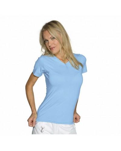 Maglietta donna Stretch Celeste in cotone a manica corta Isacco