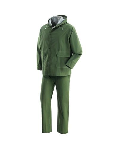 Completo Giacca e Pantalone impermeabile Pluvio Verde in PVC Neri