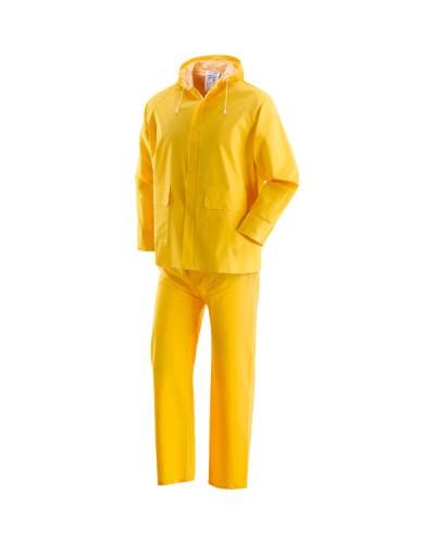 Completo Giacca e Pantalone impermeabile Pluvio Giallo in PVC Neri