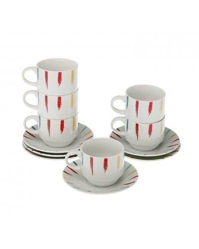 Set 6 Tazzine Caffè con Piattino Pittura