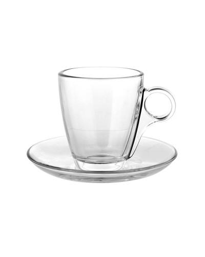 Set 6 tazze marocchino cherie 13 cl in vetro con piattino Bormioli