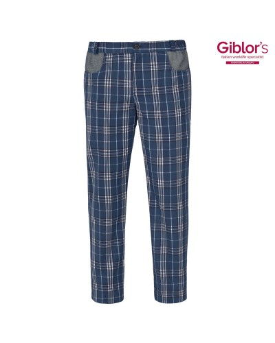 Pantalone Cuoco Liverpool Scozzese Blu Giblor's