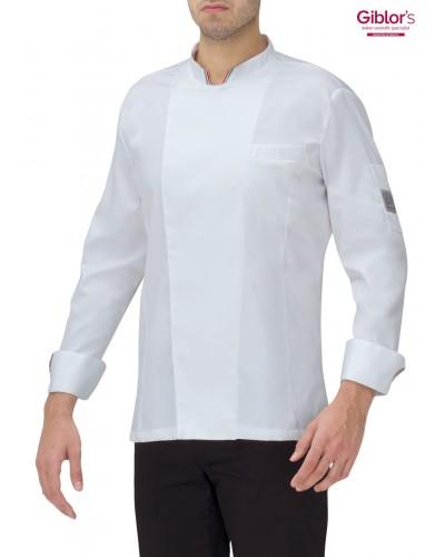 Giacca Cuoco Gianluigi Bianca e tricolore manica lunga Giblor's