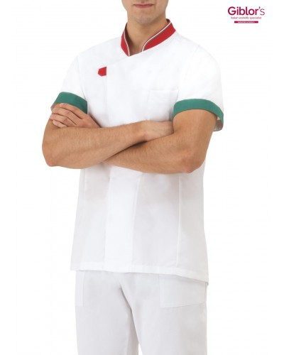 Giacca Pizzaiolo Daniel Bianca con tricolore manica corta Giblor's