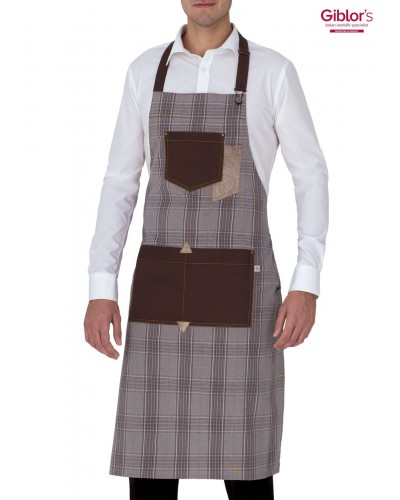 Grembiule Cameriere Bristol Marrone a Quadretti Giblor's