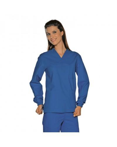 Casacca Unisex Collo A V Azzurro Manica lunga Isacco