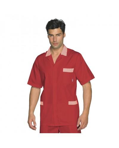 Casacca Uomo Peter rossa con righe a manica corta Isacco