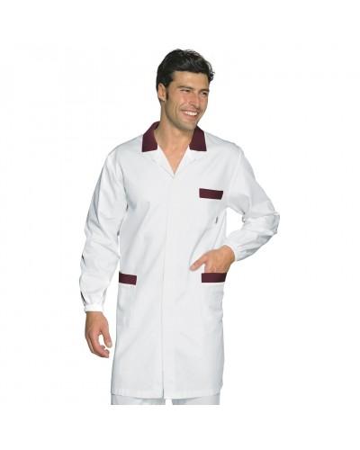 Camice Uomo Toronto Bianco con profili Bordeaux a manica lunga Isacco