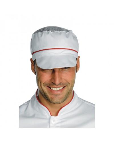 Cappello Unisex Charly Bianco e Rosso con Rete Isacco