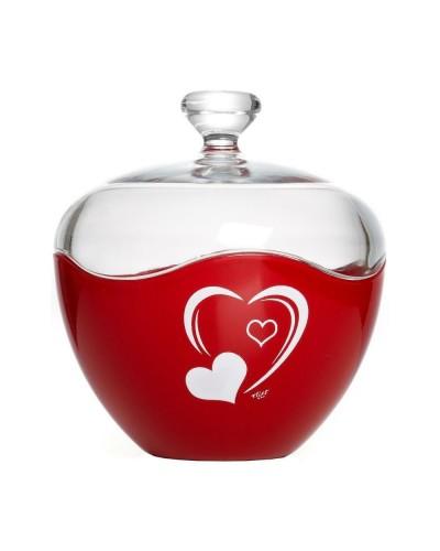 Scatola Caramelle Rossa Cuore Vetro Cm 13 Eva Collection